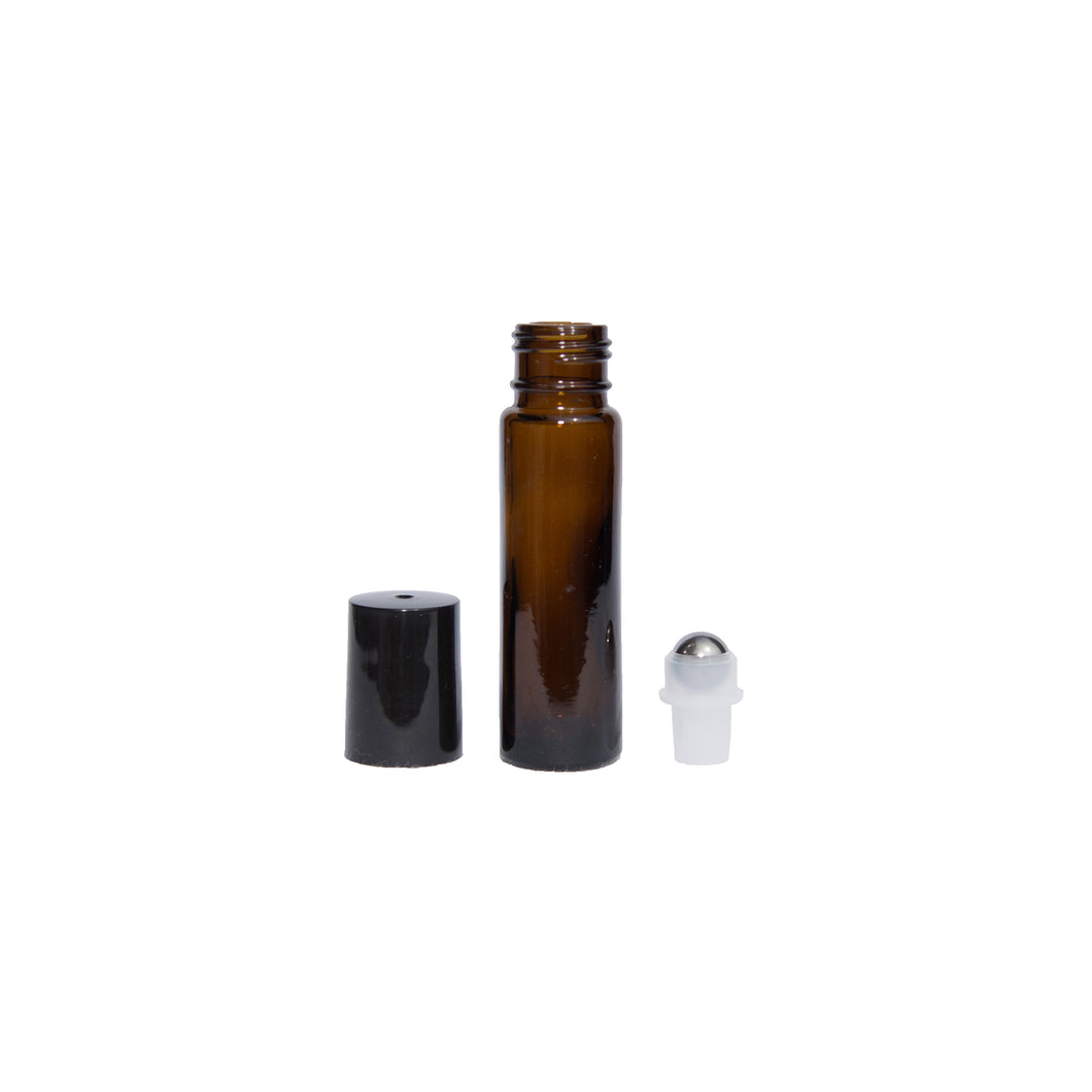 Wholesale 10ml Amber Unfrosted Bottle with Black lid (Case 576)