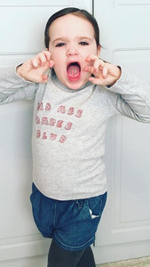 bad ass babe, kids clothing, kids clothes, childrens wear, grey sweater, printed sweater, printed baby grow, cute kids, cute babys, cute kids clothing, cheap clothing, sweaters for kids, roar, kids fun clothing
