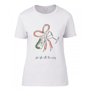 Gin-gle all the way women's printed fashion christmas t-shirt gin and ribbon