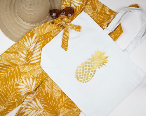pineapple, fineapple, gold printed summer fashion, gold printed fashion, gold, gold pineapple, summer outfit, sunmer fashion