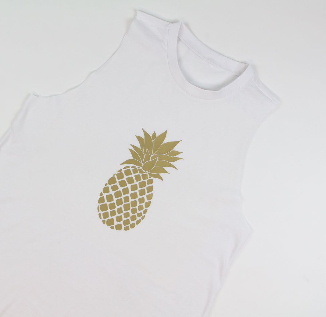 pineapple, gold foil, printed vest, summer clothing, sunmer time, sunmer tops, tops