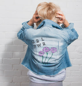 girl power, GRL PWR, fashion, blonde girl, blonde hair, fashion, flowers, white, purple, designer, personalised