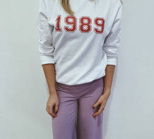 varsity birth year jumper sweater personalise