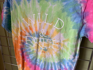 wild & free, free, wild, tie dye, summer clothing, summer outfir, summer style, wild one, womens clothing, ladies summer outfit, womens tshirt, womens clothing