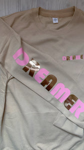 dream on dreamer, dream, dream on, pink printed, printed fashion