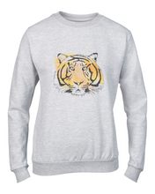 Printed sweater, Printed sweatshirt, tiger, grr, print, watercolour, animal print, animals, cat, big cat, cat lady fashion, style, outfit, womens wear, womens sweat