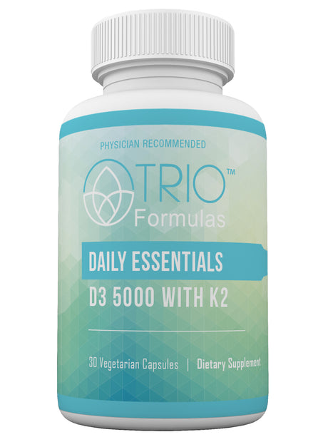 Daily Essentials Vitamin D3/K2 • Supports Healthy Blood Circulation • Promotes Bone Health and Proper Calcium Storage • Supports Cardiovascular Health and Blood Sugar Balance • Boosts Immune Function • 30 Capsules