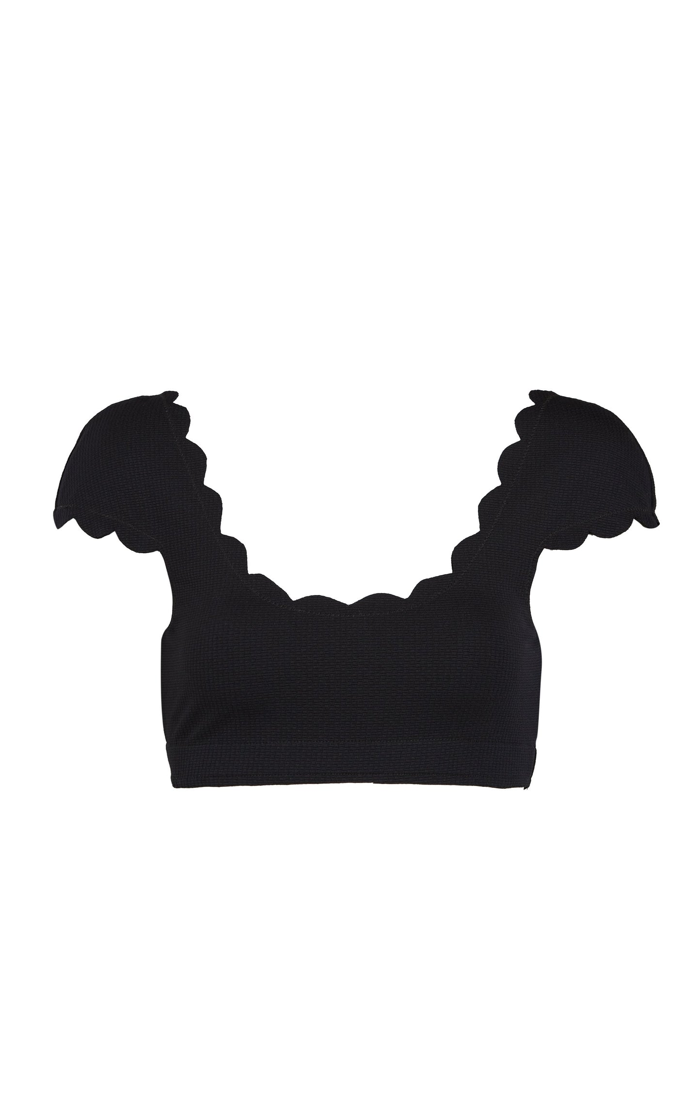 Scalloped Mexico Top in Black