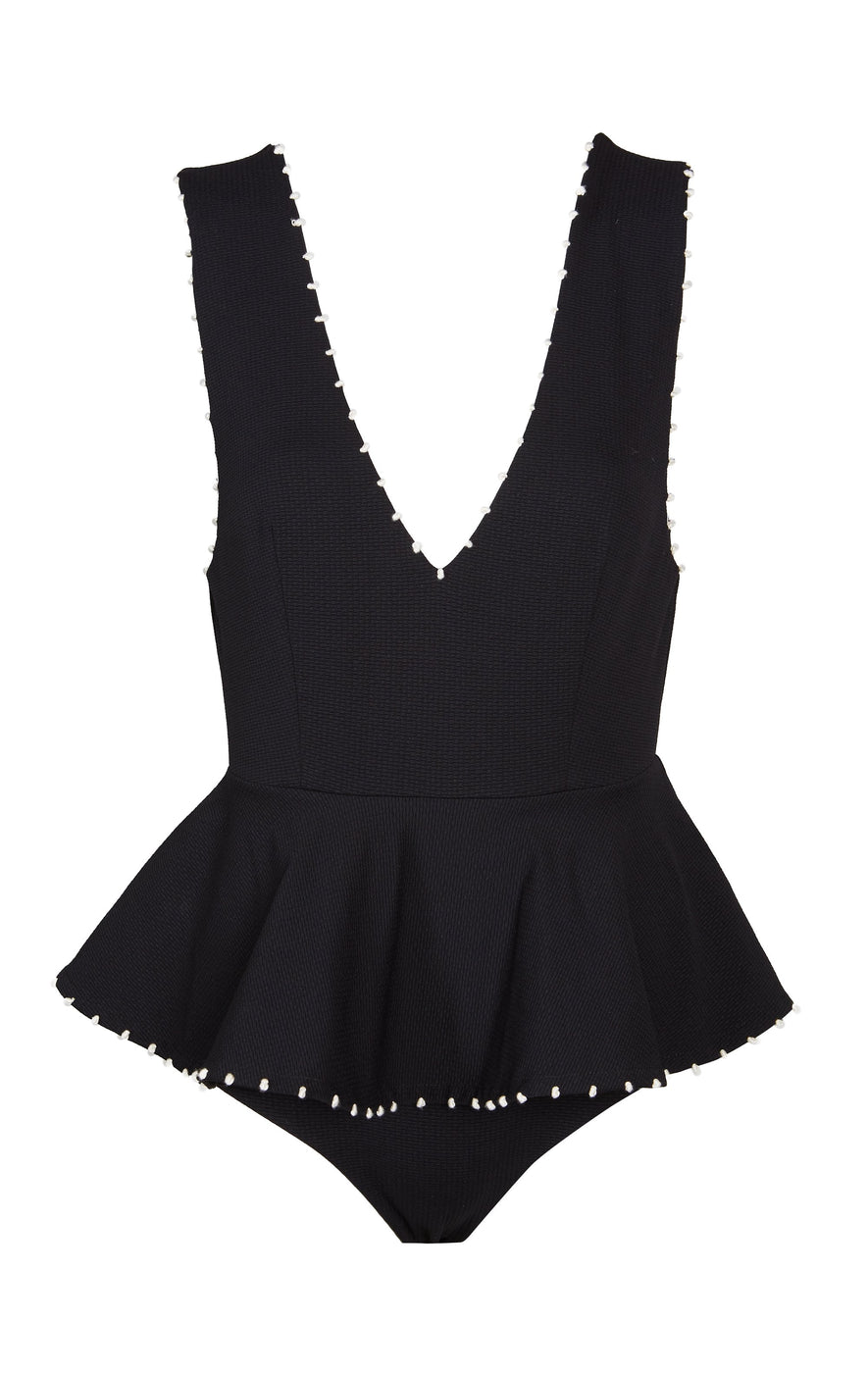 French Gramercy Maillot in Black with Coconut Knots