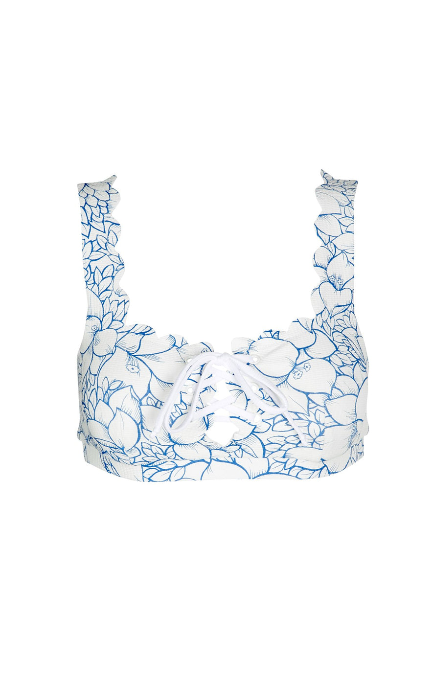 Palm Springs Tie Top in Bougainvillea Blue