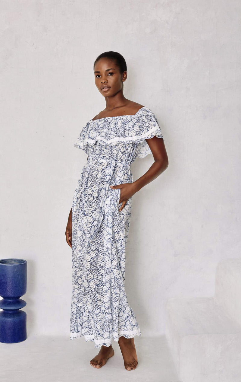 Lemnos Dress in Bougainvillea Blue