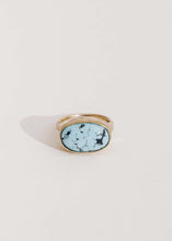 Bezel Set Turquoise East West Oval 1 Ring
