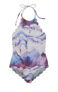 Long Torso Mott Maillot in Electric Print/ Adriatic Blue
