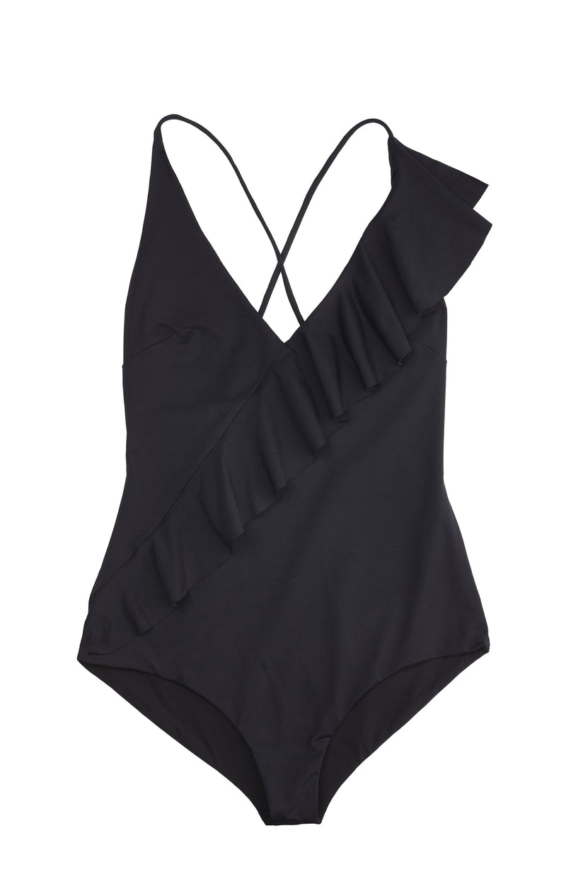 Asymmetrical ruffle one piece with a dramatic back in black