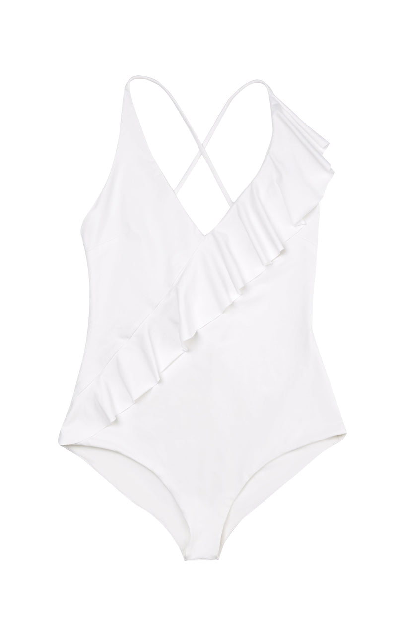 Palisades Ruffle Maillot in Coconut