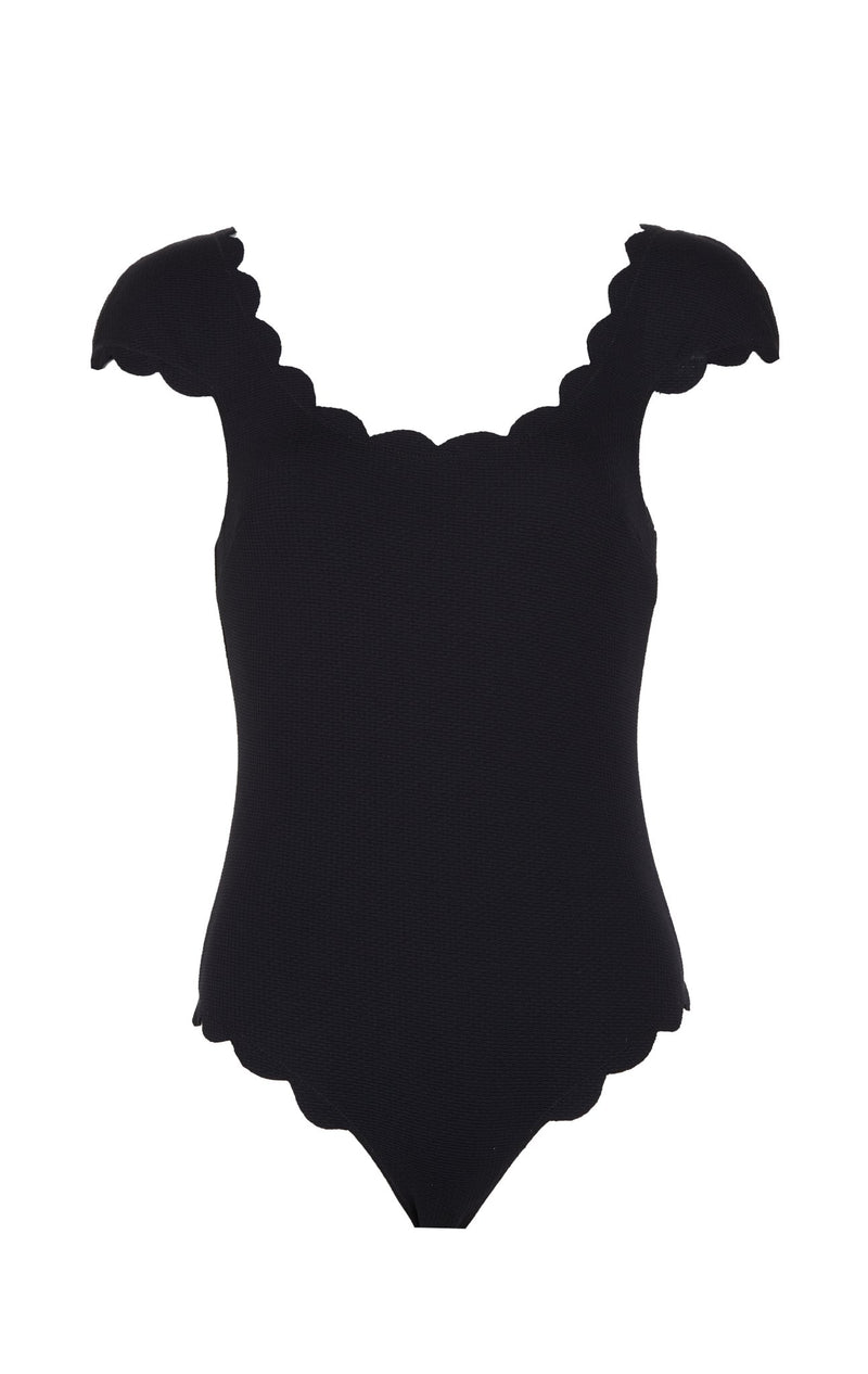 SWIMCLEAN Sustainable Scalloped Mexico Maillot in Black