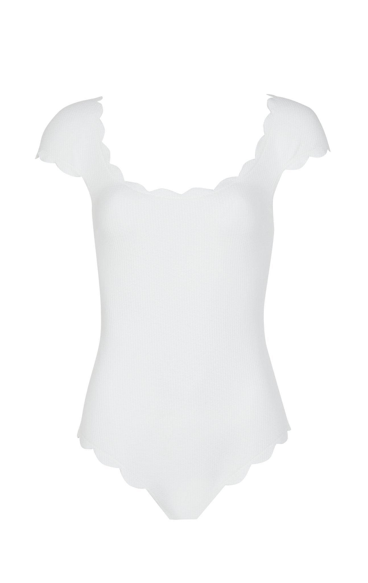 SWIMCLEAN Sustainable Scalloped Mexico Maillot in Coconut