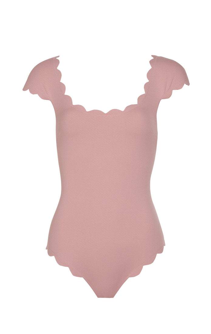 SWIMCLEAN Sustainable Scalloped Mexico Maillot in Marysia Pink