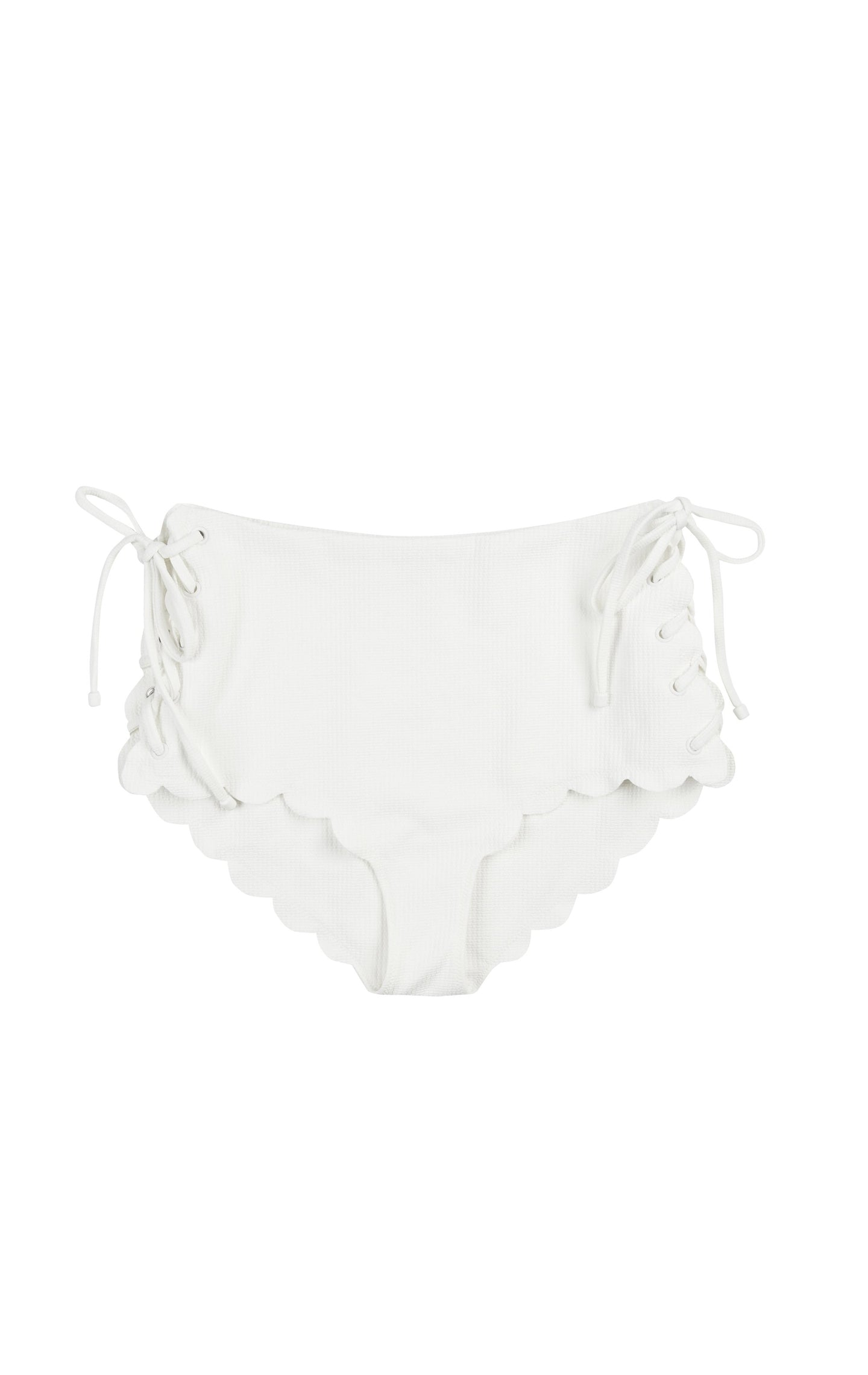 Side tie, high-waisted designer swimwear bottoms in white