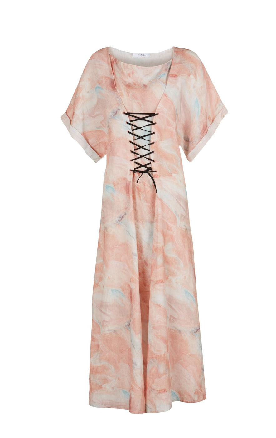 Sonora Dress in Antelope Marble Print