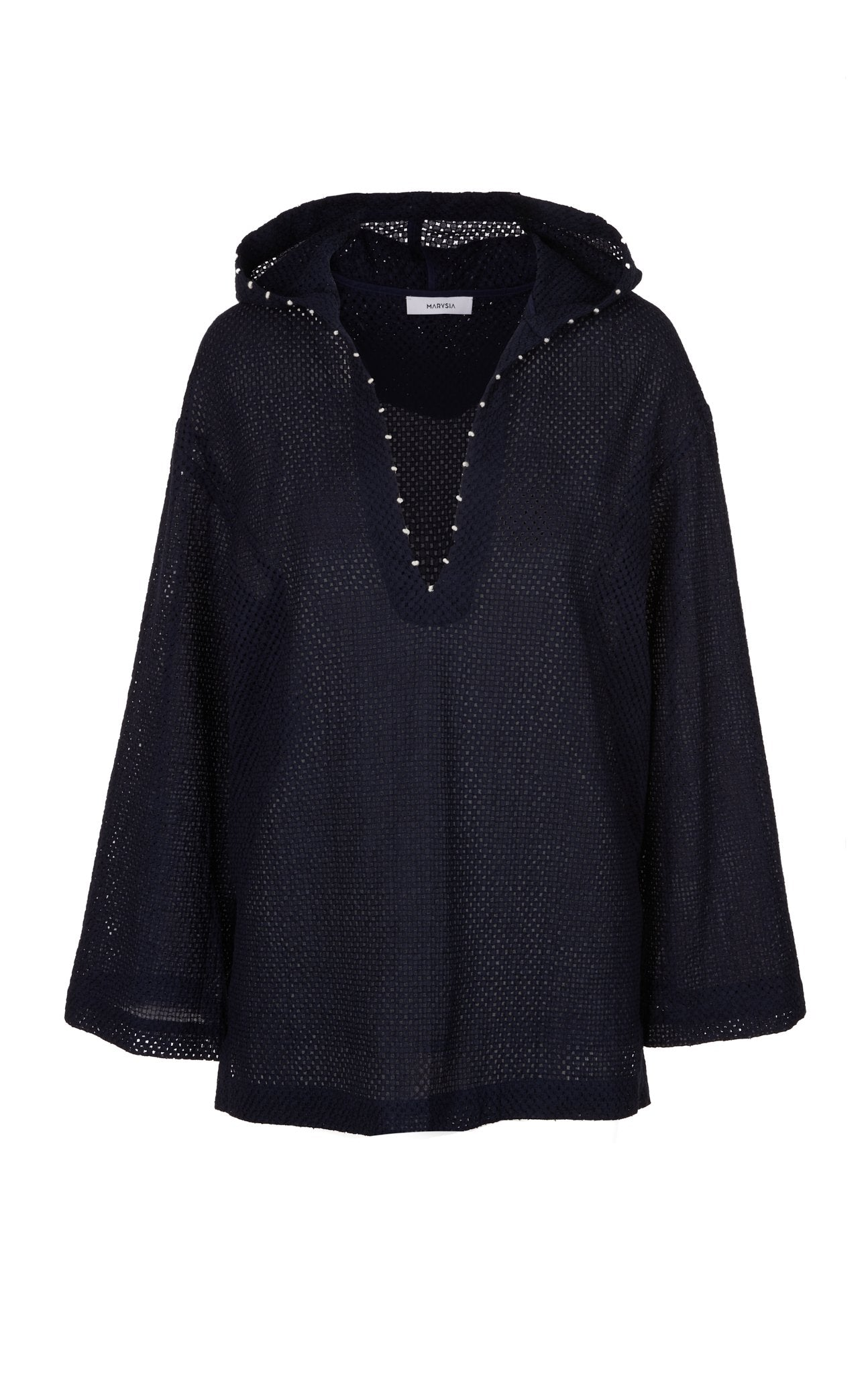 Hooded Tunic in Indigo/Coconut