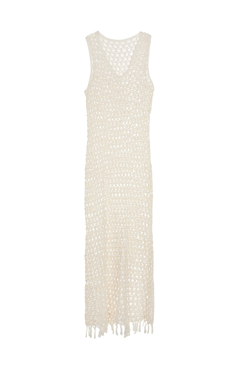 Crochet Sleeveless Dress in Natural