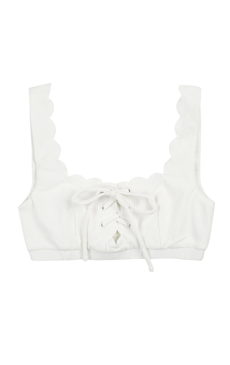 A luxury swimwear bikini top in coconut, with a tie front detail and a scallop trim