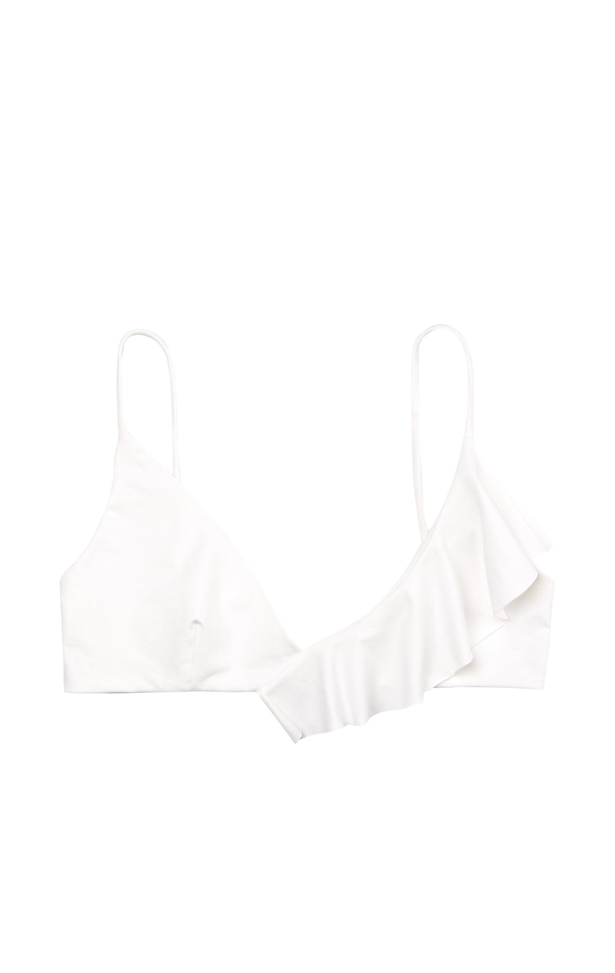 Coconut asymmetrical ruffle bikini top in a luxury ultra-smooth fabric