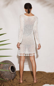 Crochet Full Sleeve Dress in Natural