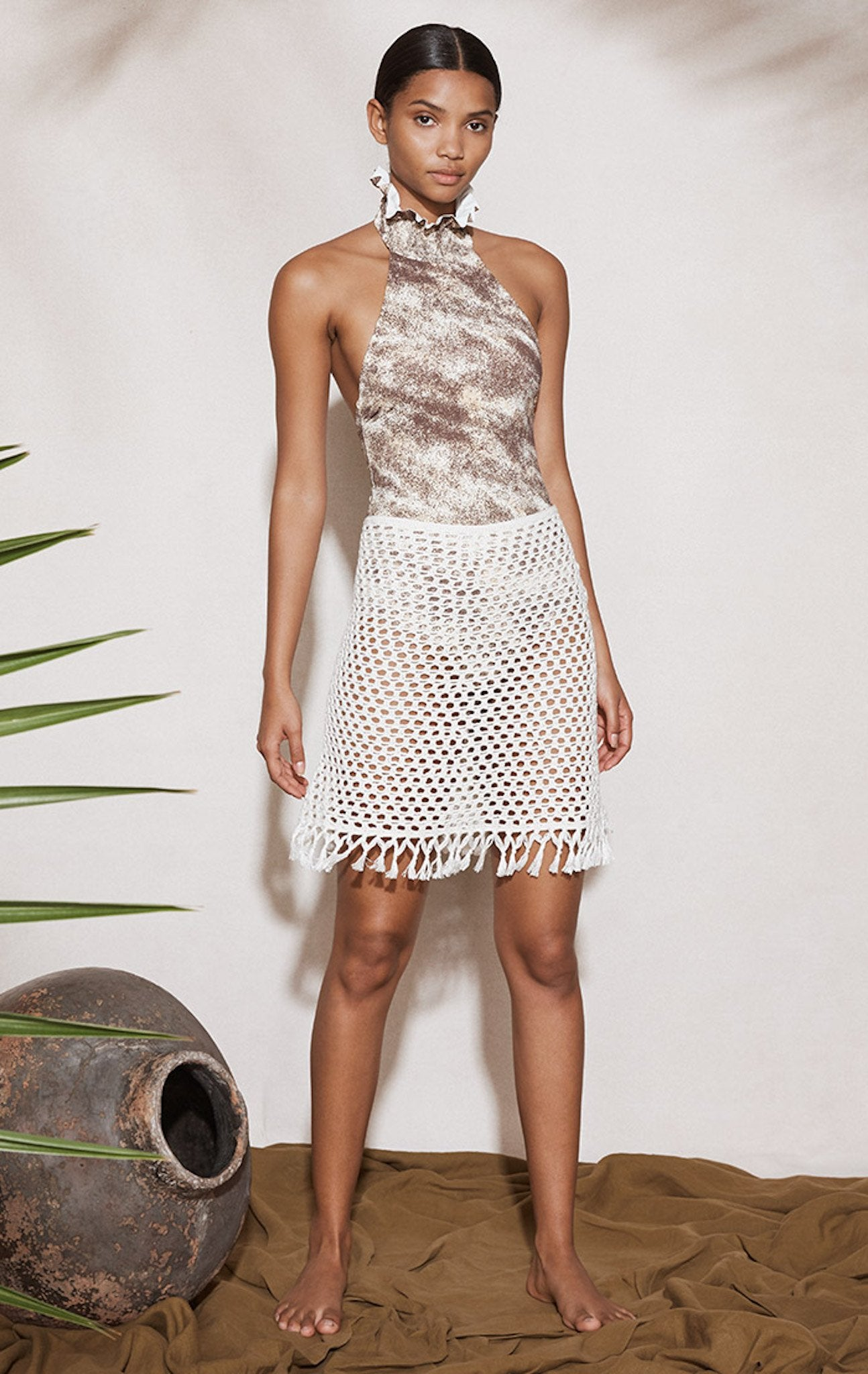 Crochet Mini Skirt in Natural