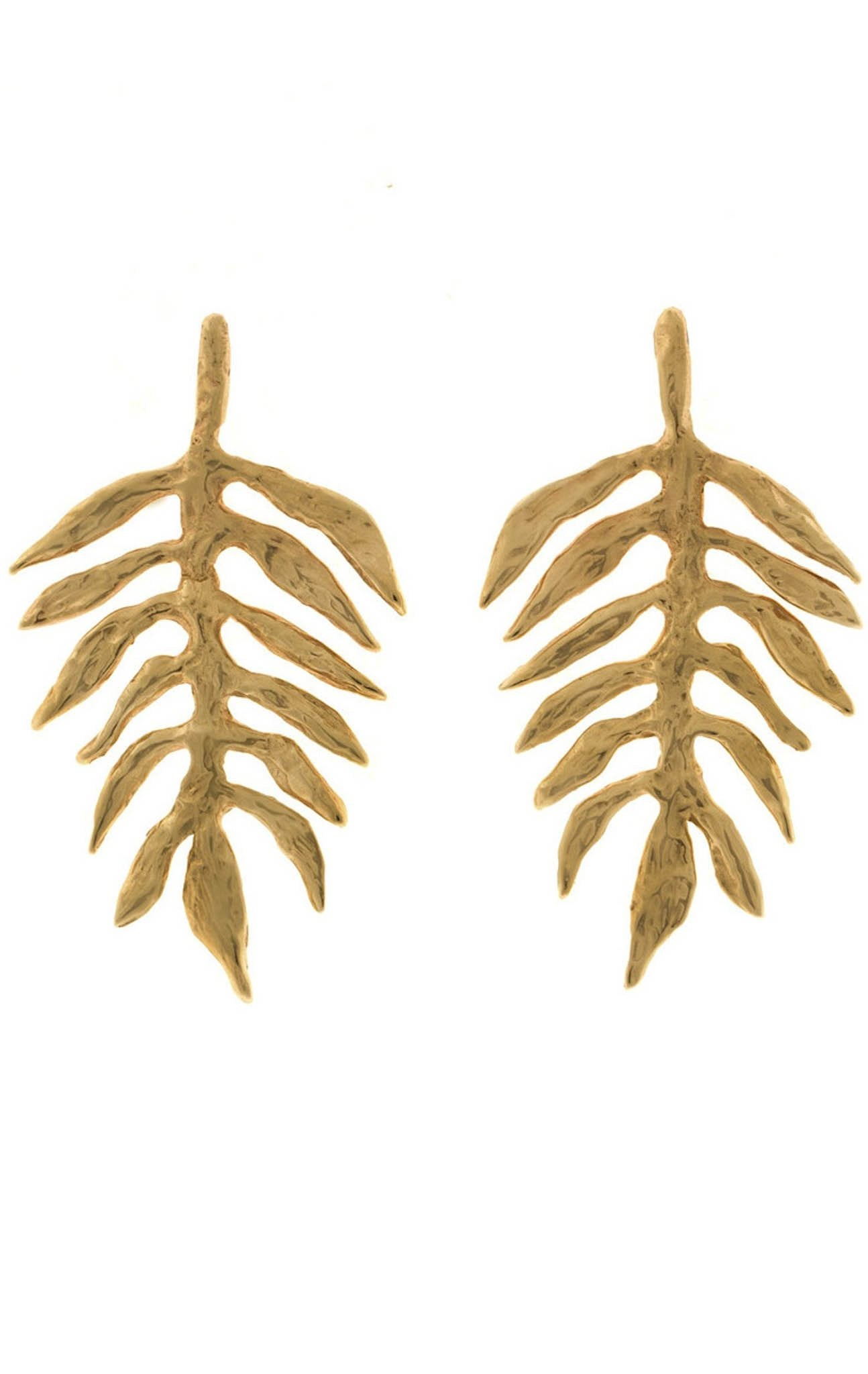 Frond Earrings in Yellow Gold