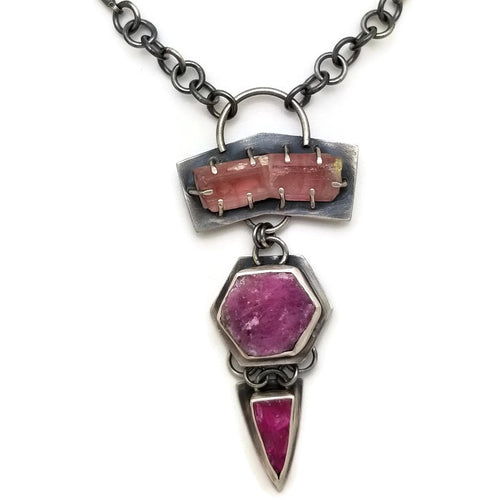 3 Stone Collector necklace in pink - one of a kind