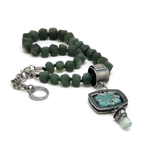 Royal necklace with jade beads, turquoise and tourmaline