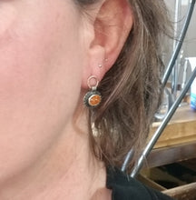 Spessartite garnet post earrings in sterling and 14k rose gold
