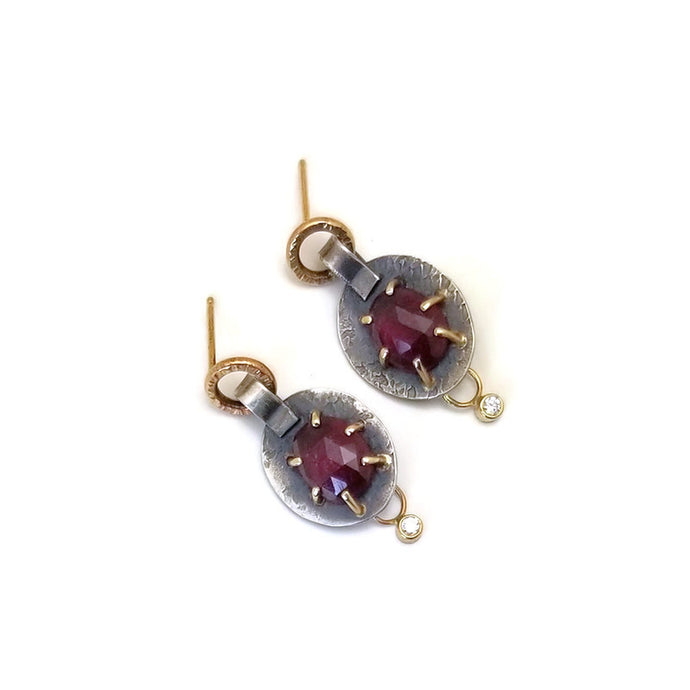 Ruby and Diamond Earrings- one of a kind