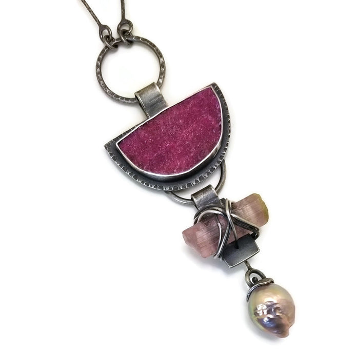 Cobalto Calcite, Pink Tourmaline and Edison Pearl 3 Stone Necklace- one of a kind