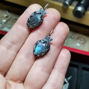 Oval Labradorite Earrings with Serrated Bezel