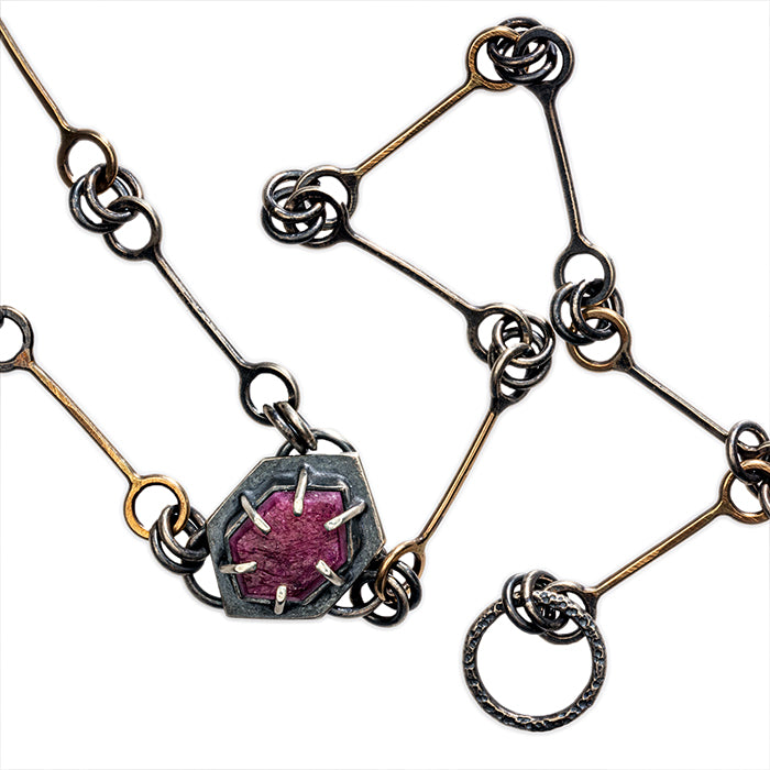 "24"" Mixed Metal Chain with Ruby - 14k gold with sterling silver"