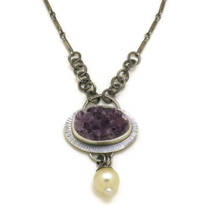 Amethyst and South Sea Pearl Necklace - one of a kind