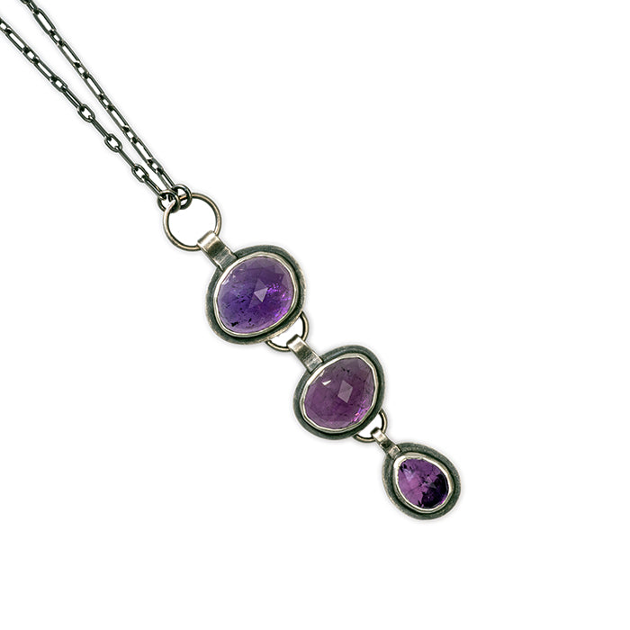 3 Stone Amethyst Necklace in sterling silver