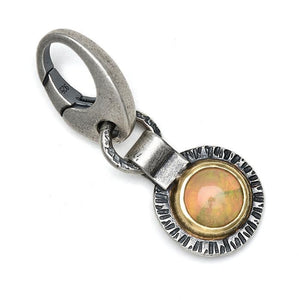 Ethiopian opal charm with 18k gold and oxidized sterling