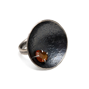 Orange Sapphire moon rock ring