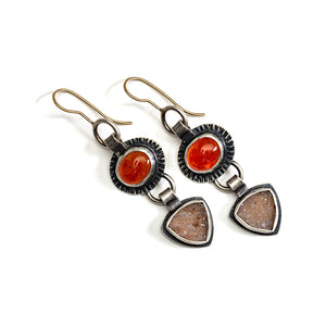 Carnelian and natural druzy earrings in sterling with 14k gold