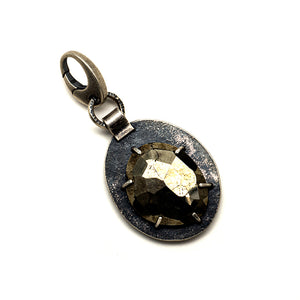 Rose cut pyrite in prongs charm - one of a kind