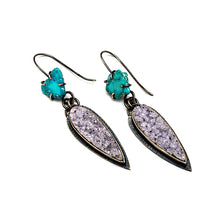 Turquoise slice earrings with natural lavender druzy