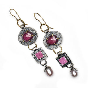 Ruby, Cobalto Calcite and Pearl 3 Stone Earrings in 18k Gold & Sterling Silver- one of a kind
