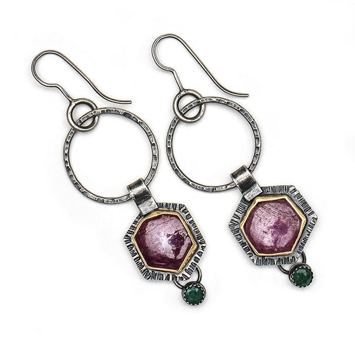 Ruby and Emerald Earrings- one of a kind