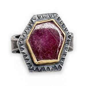 Ruby Ring with 18k Gold- one of a kind