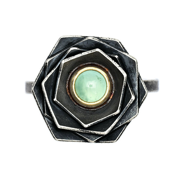 Peruvian Opal Flower Ring in sterling silver and 18k gold