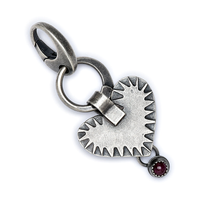 Ruby Heart Charm in sterling silver
